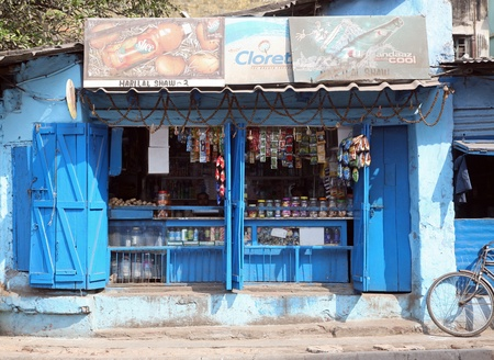 ambulant: KOLKATA, INDIA - FEBRUARY 01: Front of an Indian Store on February 01, 2009 in Kolkata, India.