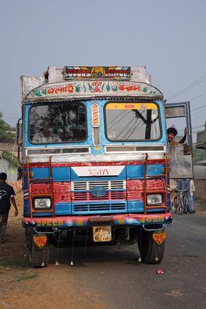 transportaion: KUMROKHALI, INDIA - JANUARY 12: Typical, colorful, decorated public transportation bus in Kumrokhali, West Bengal, India, January 12, 2009.