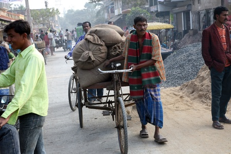 KUMROKHALI, INDIA - JANUARY 12: Man drives his goods to market in Kumrokhali, West Bengal, India on January 12, 2009. 42% of India falls below the international poverty line of $1.25 a day