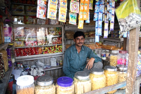 poverty in india: KUMROKHALI, INDIA - JANUARY 12: Old grocery store in a rural place in Kumrokhali, West Bengal, India January 12, 2009. Editorial