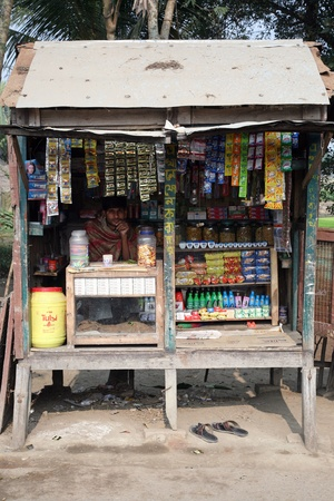 KUMROKHALI, INDIA - JANUARY 16: Old grocery store in a rural place in Kumrokhali, West Bengal, India January 16, 2009.