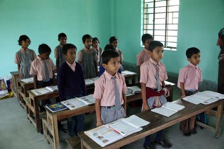west indian: KUMROKHALI, INDIA - JANUARY 16: Kids learn at school on January 16, 2009, Kumrokhali, West Bengal, India Editorial