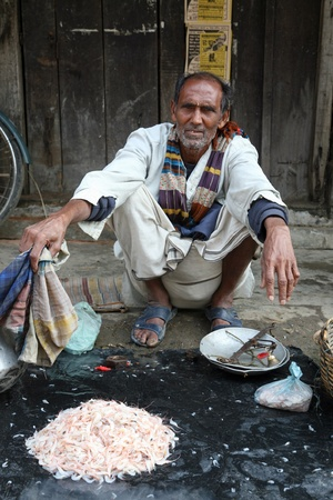 KUMROKHALI, INDIA - JANUARY 19: Man selling prawns on January 19, 2009, Kumrokhali, West Bengal, India. Seafood is one of the main part of indian peoples ration Stock Photo - 10977294