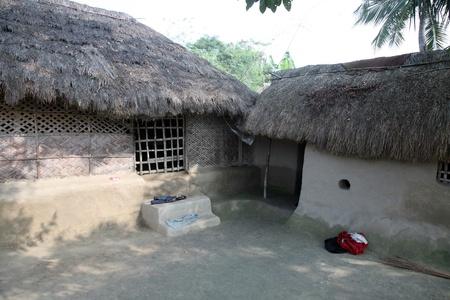 Een eenvoudig huis in het Bengaals dorp Stockfoto