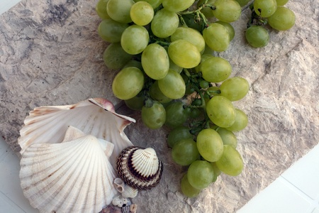 Mediterranean: grapes and shells photo