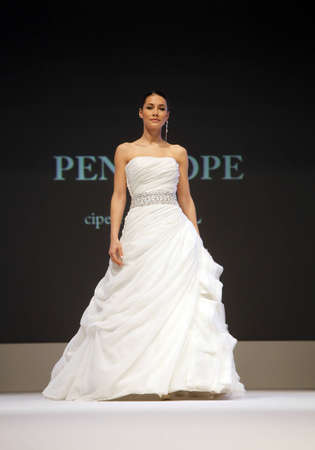 ZAGREB, CROATIA - FEBRUARY 19: Fashion model walks the runway in wedding dress on Wedding days show, February 19, 2012 in Zagreb, Croatia.
