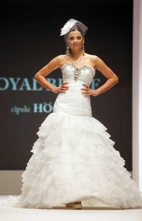 ZAGREB, CROATIA - FEBRUARY 19: Fashion model walks the runway in wedding dress on Wedding days show, February 19, 2012 in Zagreb, Croatia.