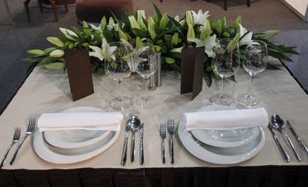Beautiful table set for wedding photo