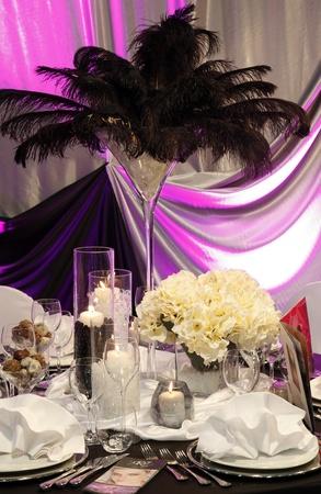 Mooie tabel voor bruiloft Stockfoto