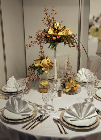 Beautiful table set for wedding Stock Photo
