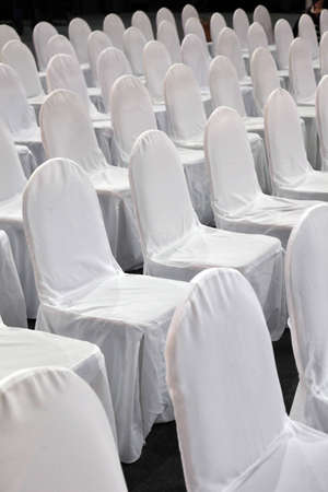 Rows of white chairs photo