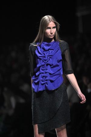 ZAGREB, CROATIA - MARCH 16: Fashion model wears clothes made by Ana Maria Ricov on