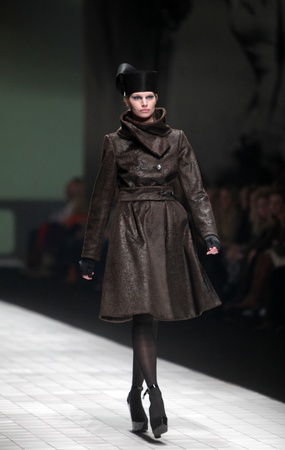 ZAGREB, CROATIA - MARCH 17: Fashion model wears clothes made by Branka Donassy on