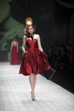 ZAGREB, CROATIA - MARCH 17: Fashion model wears clothes made ​​by Envy Room on Dove FASHION.HR show on March 17, 2012 in Zagreb, Croatia.