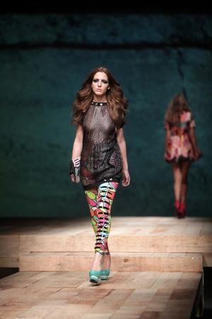 ZAGREB, CROATIA - MARCH 23: Fashion model wears clothes made by Zoran Aragovic on
