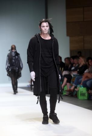 ZAGREB, CROATIA - May 10: Fashion model wears clothes made by Rannva Karadottir & Marianna Morkore on