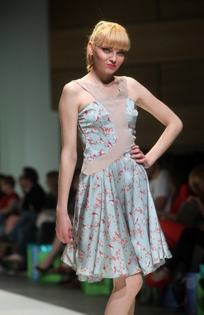 ZAGREB, CROATIA - May 10: Fashion model wears clothes made by Iggy Popovic on