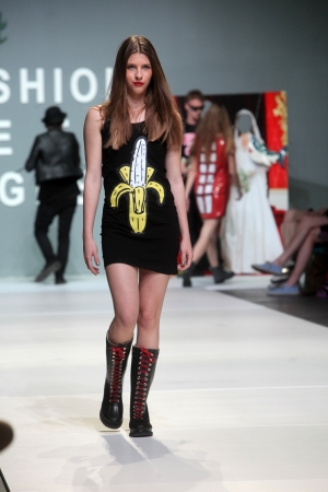 ZAGREB, CROATIA - May 10: Fashion model wears clothes made by The Rodnik Band on ZAGREB FASHION WEEK show on May 10, 2012 in Zagreb, Croatia.
