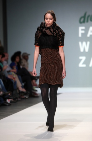 ZAGREB, CROATIA - May 10: Fashion model wears clothes made by Leandro Cano on