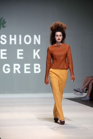 ZAGREB, CROATIA - May 10: Fashion model wears clothes made by Leandro Cano on ZAGREB FASHION WEEK show on May 10, 2012 in Zagreb, Croatia.