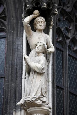martyr: Martyrdom of St. Stephen. Stoning of St. Stephen, detail of Stephansdom, Vienna Stock Photo