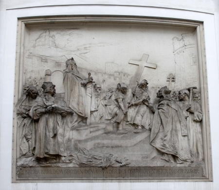 Church of Saint Peter, Vienna - Austria. A relief plaque on the right side of the church tells of the legend of Charlemagne. Stock Photo - 14404198