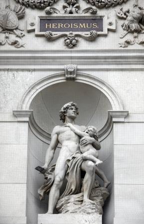 heroism: Burgtheater, Vienna, statue shows an allegory of heroism