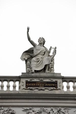 Burgtheater, Vienna, statue shows a seated Apollo Stock Photo
