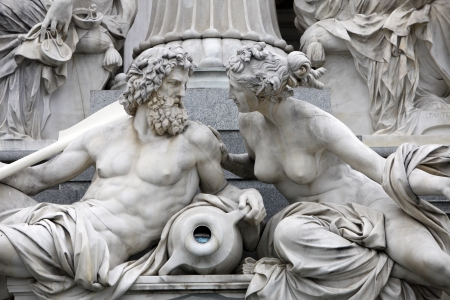 Detail of Pallas-Athene fountain in front of Austrian parliament, Vienna, Austria. Sculptures represent rivers Danube and Inn Stock Photo - 14404260