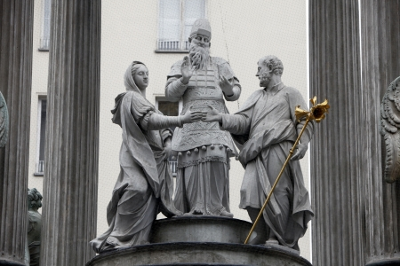 catholic wedding: The famous monument showing the engagement of Mary and Joseph located in the first district of engagement Vienna Stock Photo