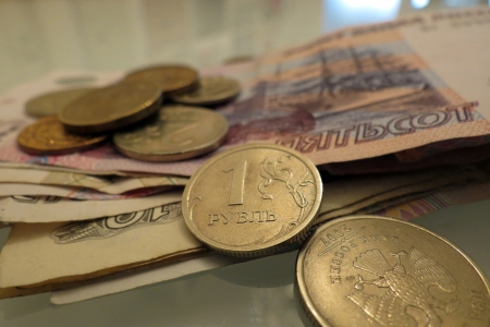 Russian ruble, banknotes and coins photo