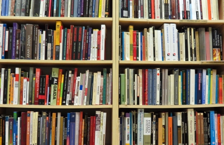 academics: Bookshelf in library with many books
