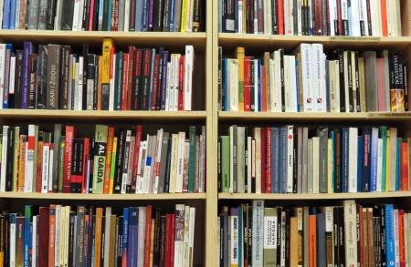 mensole: Libreria in biblioteca con molti libri