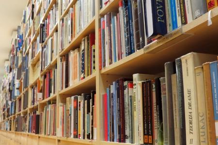 kütüphane: Birçok kitap ile kütüphane Kitaplık