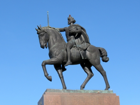 dominion: Statue of the king Tomislav riding a horse,placed in front of the main railway station in Zagreb, Croatia Editorial