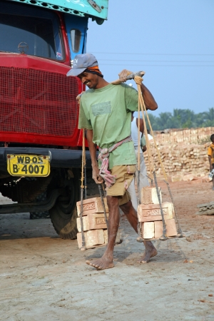 developing country: SARBERIA,INDIA, JANUARY 16: Brick field workers carrying complete finish brick from the kiln, and loaded it onto a truck on January 16, 2009 in Sarberia, West Bengal, India.