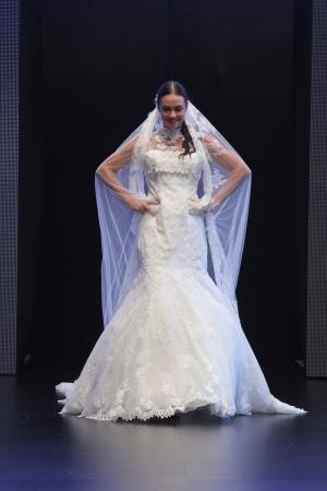 strapless: ZAGREB, CROATIA - OCTOBER 27: Fashion model wears wedding dress made by Vesna Sposa on Wedding days show, October 27, 2012 in Zagreb, Croatia.
