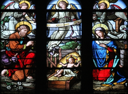 Nativity Scene, stained glass window in Saint-Eustache church, Paris, France