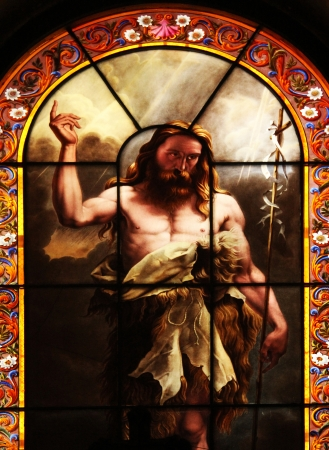 Saint John the Baptist, stained glass Stock Photo - 17402994