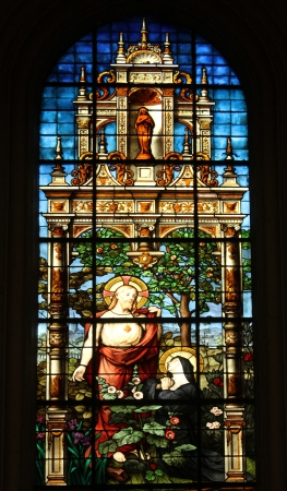 Sacred Heart of Jesus and Marguerite Marie Alacoque, stained glass