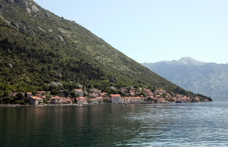 Beautiful landscape of Perast - historic town on the shore of the Boka Kotor bay, Montenegro, Europe. photo