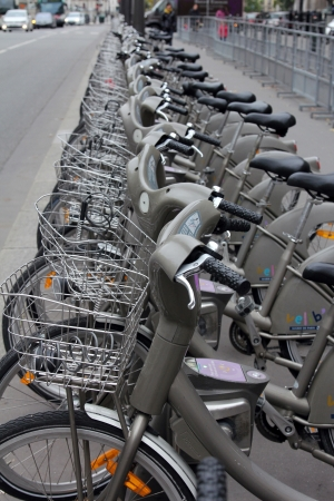 Velib bicycles in the row on January 6, 2012 in Paris, France. Velib is a large-scale public bicycle sharing system in Paris, France.