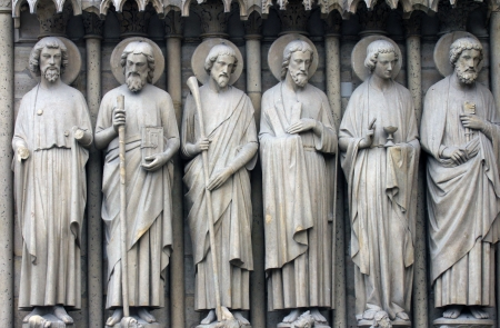Paris, Notre-Dame cathedral, detail of central portal, depicting the Last Judgment. From left to right: Bartholomew, Simon, James the Less, Andrew, John, and Peter. photo