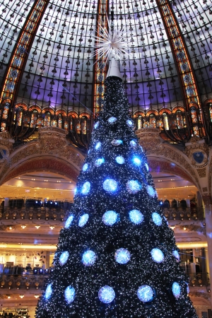 christmas perfume: PARIS - NOVEMBER 11: The Christmas tree at Galeries Lafayette, trade pavilions with perfume, November 11, 2012, Paris, France. Many famous perfume brands represent their production here.