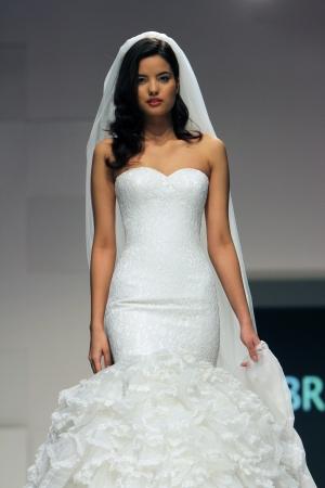 royal wedding: ZAGREB, CROATIA - FEBRUARY 16: Fashion model wears wedding dress made by Royal Bride on Wedding days show, February 16, 2013 in Zagreb, Croatia.