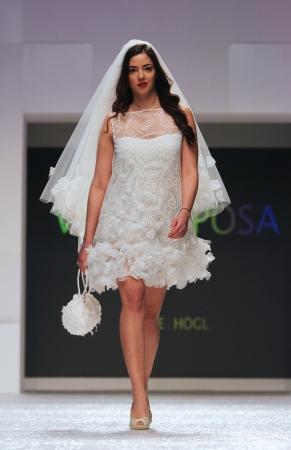 wears: ZAGREB, CROATIA - FEBRUARY 16  Fashion model wears wedding dress made by Vesna Sposa on  Editorial