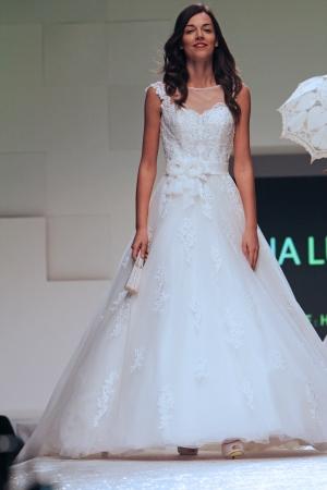 wears: ZAGREB, CROATIA - FEBRUARY 16  Fashion model wears wedding dress made by Ana Luna on