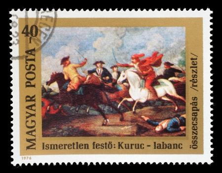 magyar: HUNGARY - CIRCA 1976: A stamp printed in Hungary issued for the 300th Birth Anniversary of Prince Ferenc Rakoczi II shows the clash between Rakoczi Editorial