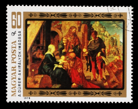 durer: HUNGARY - CIRCA 1978: A stamp printed in Hungary, shows a picture of artist Albrecht Durer Adoration of the Magi, the same inscription, series 450th Death Anniversary of Albrecht Durer, circa 1978