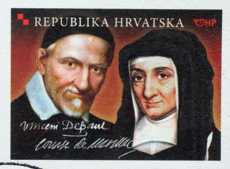 CROATIA - CIRCA 2010: Stamp printed in Croatia dedicated to St. Vincent de Paul and Louise de Marillac, circa 2010